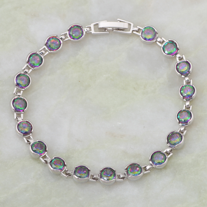 Exquisite Rainbow Mystic white gold Bracelets & bangles Cubic Zirconia 18cm 7.08 inch B181