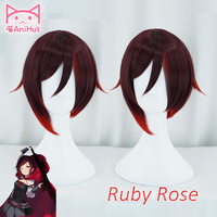 Anihut Rwby Ruby Rose Wig Short Red Straight Hair Heat Resistant
