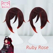 【AniHut】Ruby עלה פאה קצר אדום ישר שיער חום עמיד סינטטי קוספליי שיער אנימה פאת קוספליי רובי רוז