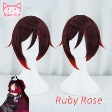 【anihut】 рубиновый розовый парик короткие красные прямые волосы