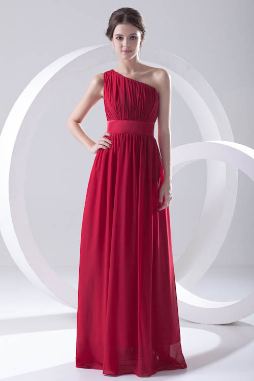 Babyonline Elegant Red Chiffon One Shoulder   Bridesmaid     Dresses   with Sashes Wedding Party   Dresses   Robe Demoiselle D'honneur