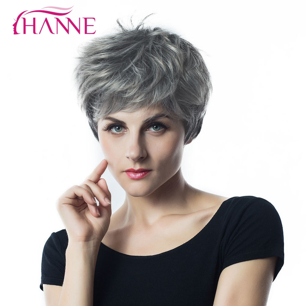 HANNE Short Haircut 1B Light Grey Mixed Color HighTemperature Fiber Synthetic Hair Wig Natural Wave Wigs For Black African Women