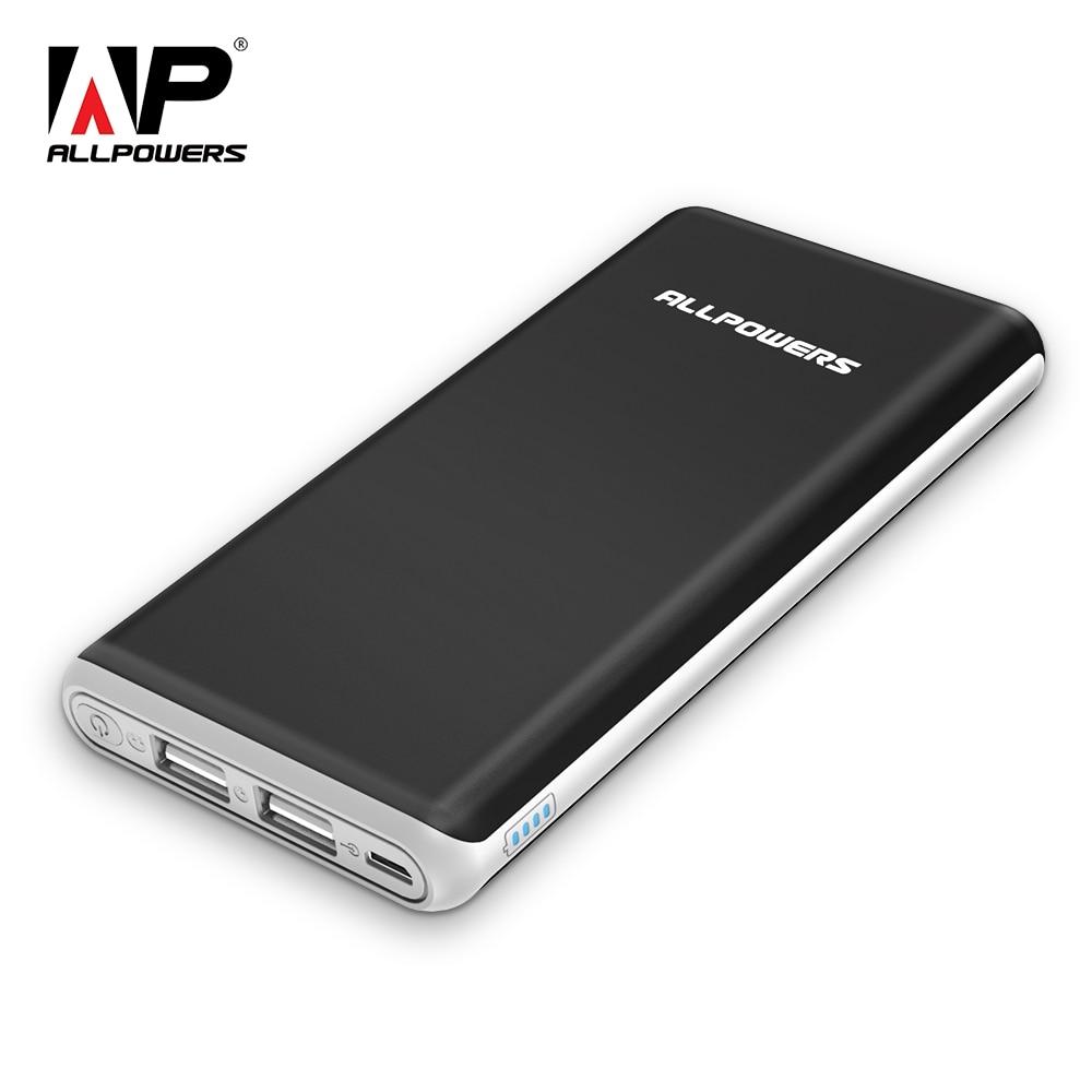 ALLPOWERS 10000 mAh Banco de Potência Portátil Bateria Externa com Saída USB Duplo Qucik Cobrar para o iphone X Xiao mi mi Nota 8 a2