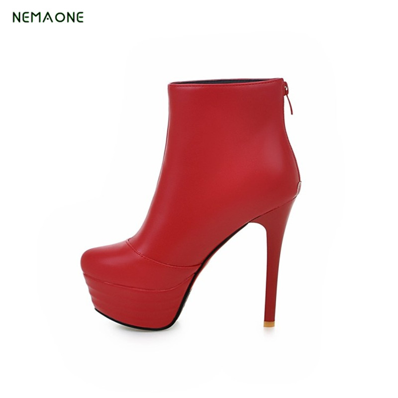 Sexy Women Boots Solid Flock Suede Zip High heels Boots Lady Stiletto Pointed toe Ankle Boots Martin Boot red white Black