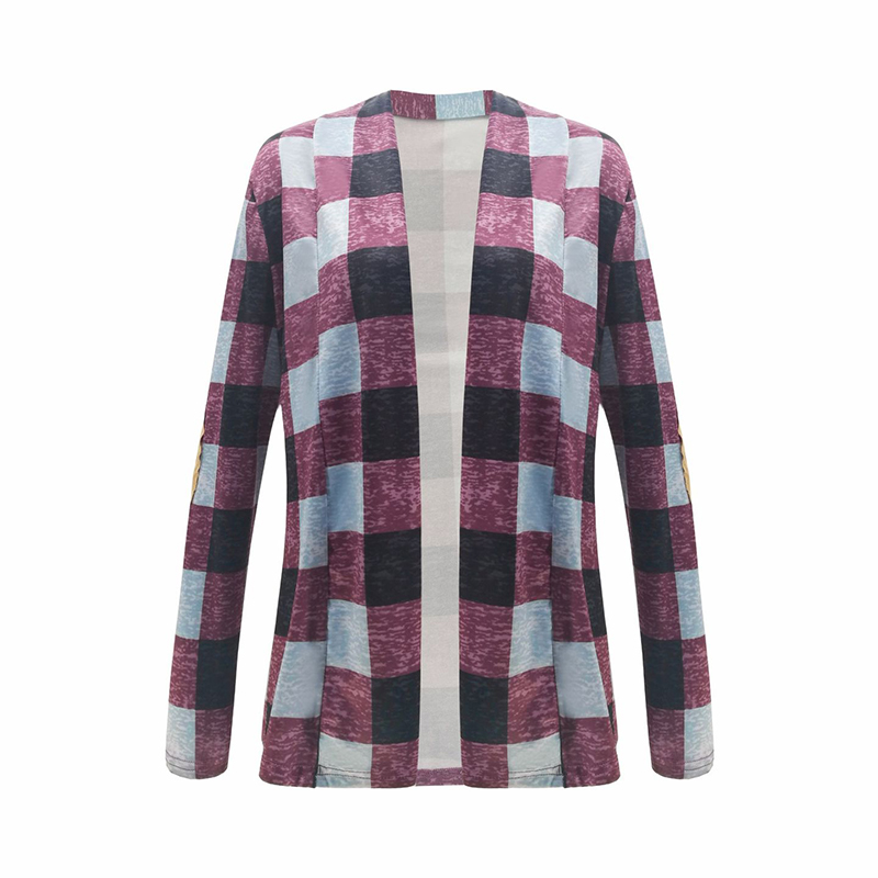 New 2018 Autumn Fashion Slim Coats Clothing   Basic     Jackets   Plaid Computer Knitted Full Polyester Women Outerwear European Style