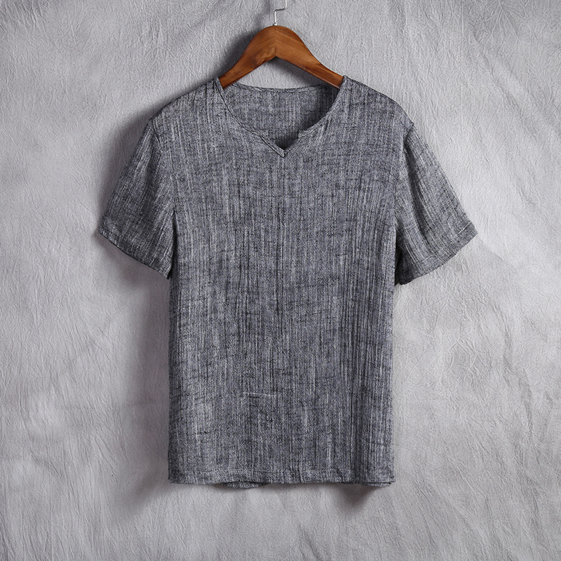 SHAN BAO brand Chinese style men's clothing thin section of Linen casual short-sleeved t-shirt men's pure color V-neck t-shirt