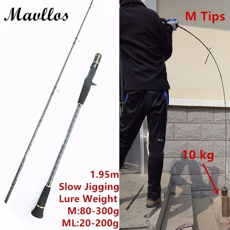 Mavllos 1.95m Lure Weight 30-300g Fishing Casting Spinning Fishing Rod Slow Action Ultra Light Carbon Saltwater Slow Jigging Rod free shipping to russian new bass fishing rod 1 53m spining carbon fiber jigging trolling bass fishing rod saltwater sea ocean