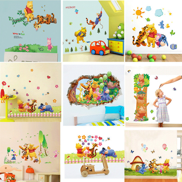 Cartoon Children Room Trees And Bear Pattern Wall Stickers Height Measure For Kids Room Children Nursery Wall Decals Home Decor