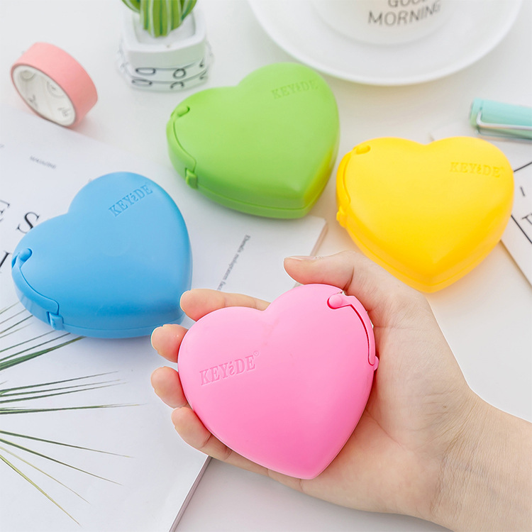 1PC Love Shape Scotch Tape Cutter Small Tape Machine Ceative Lovely Cartoon Stationery Office School Supplies
