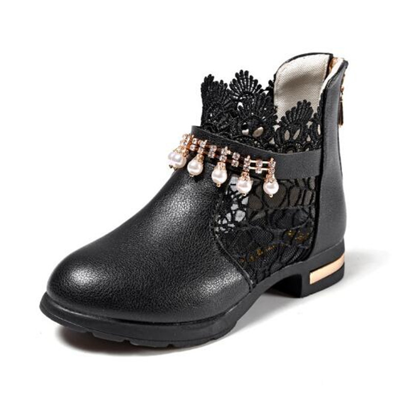 Girls PU Leather Crystal Princess Boots 2018 New Student Performance Hollow Out Lace Black Sandals New Arrival
