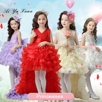 AiYaxuan Flower Girl Dresses Red Chiffon Tailing Pageant Dresses Children Summer Dresses For Kids Weddings Party