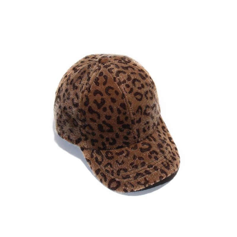 ca8c70f87d3 ... New Winter Women Velboa Woollen Leopard Baseball Cap Womens Casquette  Bone cap Fashion Snapback Cap Flat