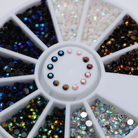 1 Box 2mm AB Chamaleon Crystal Nail Rhinestones Flat Bottom Round 3D Decor Wheel 5 Colors Manicure Nail Art Decorations