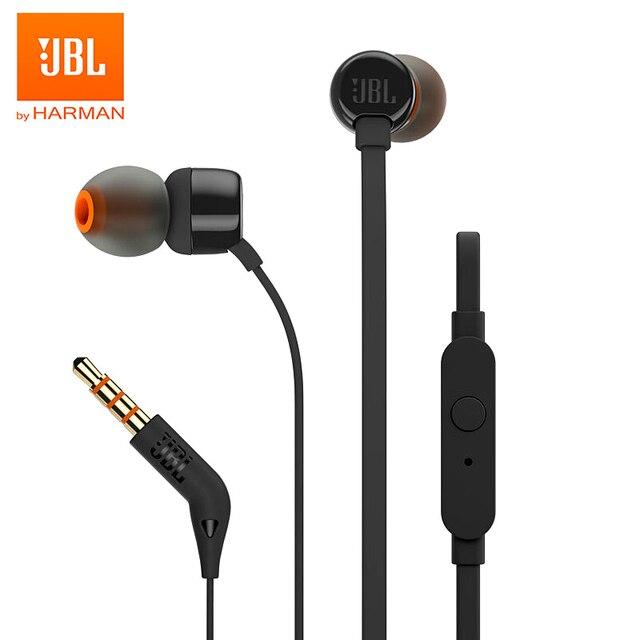 JBL T110 3.5mm 유선 이어폰 스테레오 음악 딥베이스 이어 버드 헤드셋 스포츠 이어폰 인라인 컨트롤 핸즈프리 마이크 포함