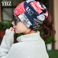 YBZ New 3 Way to Wear Women's Hats Girls Cap Flower Kintted Winter Hats for Women Balaklava Female Spring Gorros Women Beanies