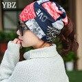 YBZ Nueva 3 Manera de llevar Sombreros Niñas Casquillo de La Flor de Las Mujeres Kintted Gorros Sombreros de Invierno para Las Mujeres Balaklava Primavera Femenina Mujeres Gorros