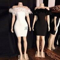 PEORCHID Off Shoulder Black White Feather Cocktail Dress Party Elegant Vestido De Festa Curto De Noite Short Semi Formal Dress