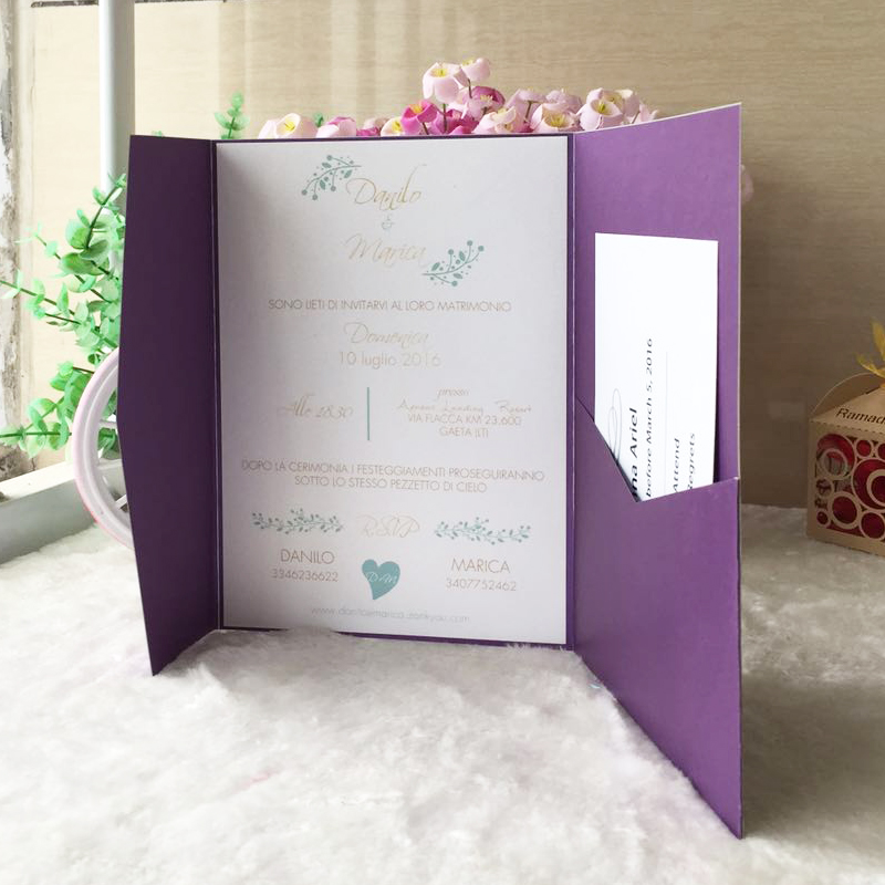 6x9 Wedding Invitation Envelopes: 50pcs/lot Pink Dark Purple Pearl Paper Envelopes Design