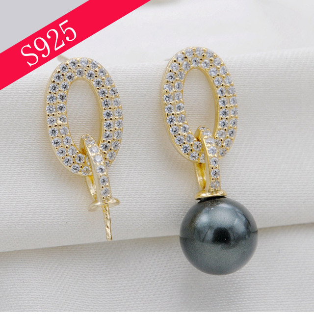 52cc04b91 S925 Sterling Silver Inlaid Zircon Pearl Stud Earring Woman Round Pearl  Earring Mounts Jewelry Making Accessory