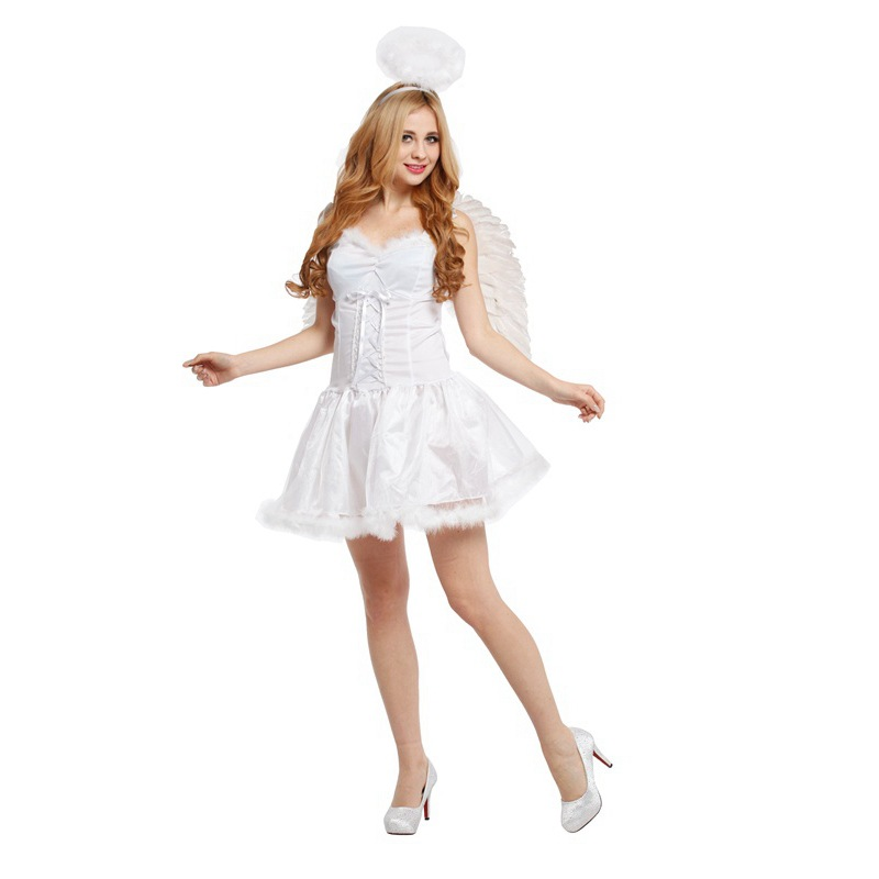 2019 Sexy Deep Woman Halloween Costumes Dark Angel Costume for Women Tutu Skirt Fancy Dress Cosplay Angel With Wing