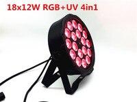8 unids/lote 18X12 W RGB+UV 4in1 16 bits atenuación LED luz de noche latas Luz de escenario Disco DJ led par DMX512 4/8CH