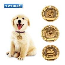 YVYOO гравировка персонализированные собаки ID тег индивидуальные собаки бирки табличка анти-потеря питомца кулон для собаки ошейник ожерелье B128