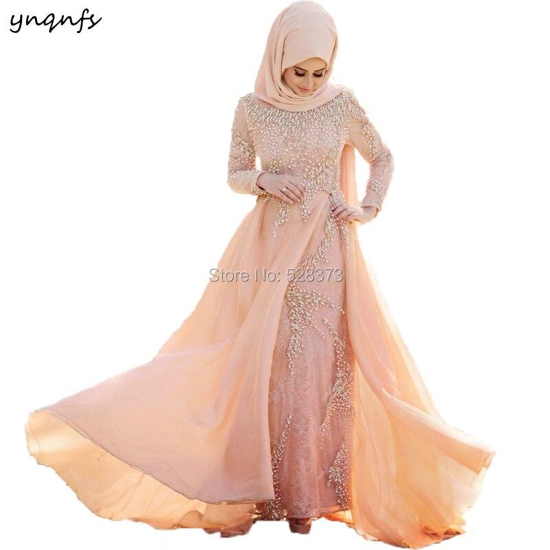 Ynqnfs Mw21 Muslim Wedding Bridal Gown Hijab Turkey Abiye Robe De