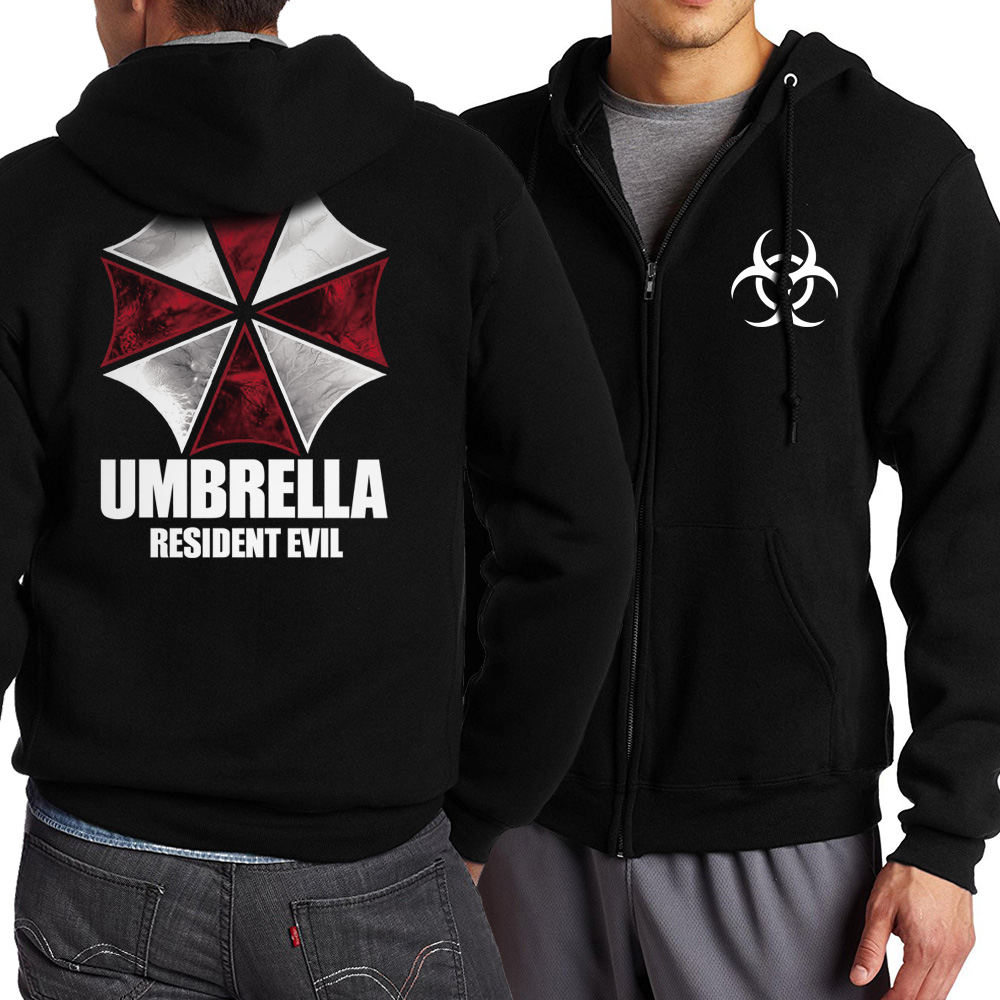 Resident Evil Umbrella Plus Size Men Hoodie 2018 Spring Autumn Men Zip Up Hoodies Jacekt Sweatshirt Tracksuit Coat Men Hooded