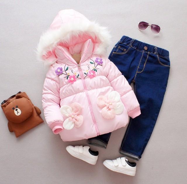 Baby Girls Coat Jacket Children Outerwear winter Hooded coats Winter Kids Coat thick cotton jacket children's coat