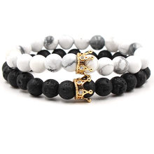 Punk Men Energy Stone Bracelets Jewelry Rhinestone Beads Crown Charm Bracelets Real Black Lava Turquoises Stone Bracelets Women(China)