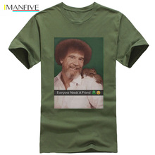 Bob Ross Official Everybody Needs A Friend T-Shirt Summer Short Sleeves Fashion T Shirt Free Shipping funny 100% Cotton набор салатников olaff с крышками 5 шт ax 5sb g 01