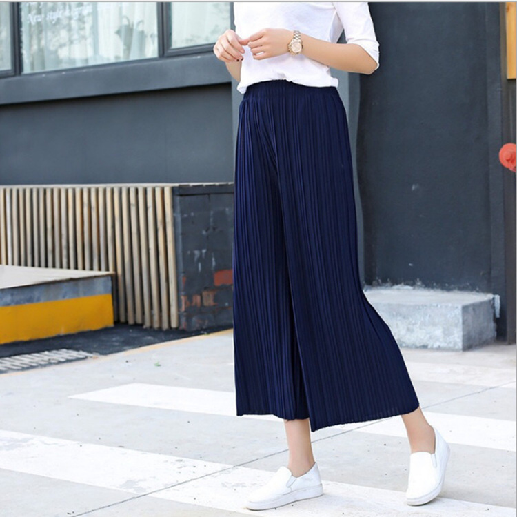 2019 Summer New Arrival Ankle Length   Wide     Leg     Pants   Ladies Breeches Thin & Soft Chiffon High Waist   Pants   10 Colors Available