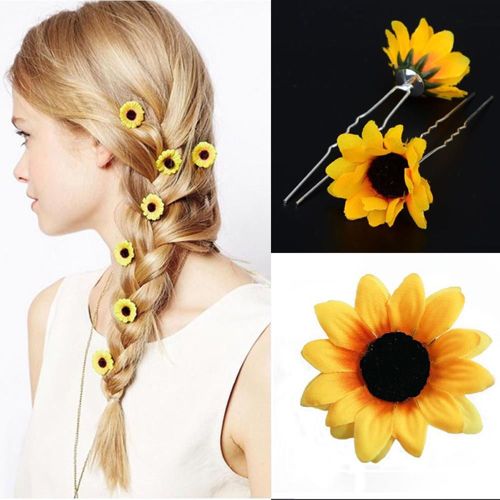 10pcs wedding bridal prom yellow sunflower hair pins hair accessory hair clip in hair jewelry from jewelry accessories on aliexpress com alibaba group