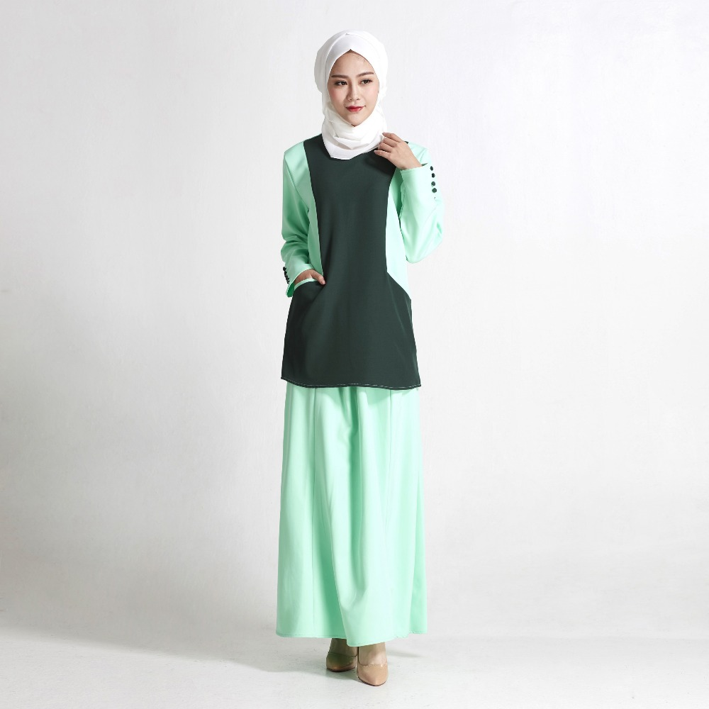 755a5ef5ddcdab Nieuwe mode vrouwen slanke moslim jurk groen rood abaya moslim gewaden gown lange  mouwen zomer maxi jurken in Nieuwe mode vrouwen slanke moslim jurk groen ...