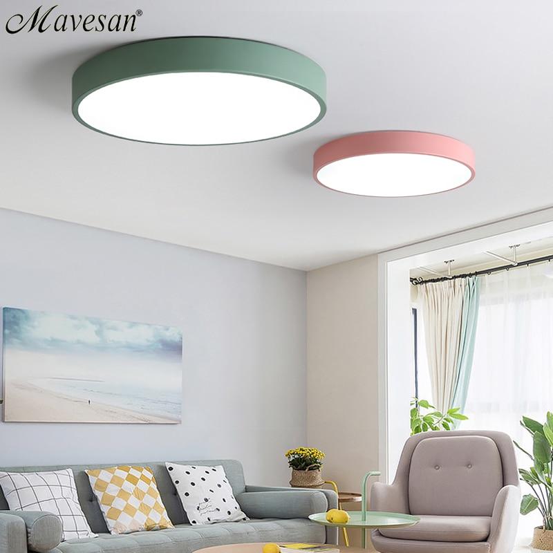 Llevó Las luces de techo para dormitorio control remoto 5 cm lámpara de techo para 8-20square metros casa moderna iluminación Macaroon