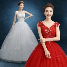 2017 new stock plus size women pregnant bridal gown wedding dress red white  ball gown sexy 7f442ca31c81