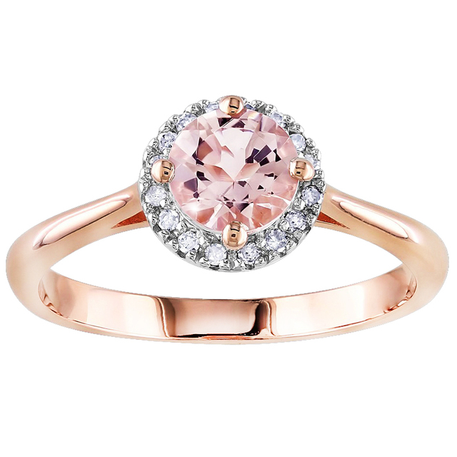 Lujoso anillo de Compromiso de Diamantes de Halo 1.20 cttw Carat Moissanites Morganite en 14 K de Oro Rosa Diamante Acentos Día de San Valentín de Regalo