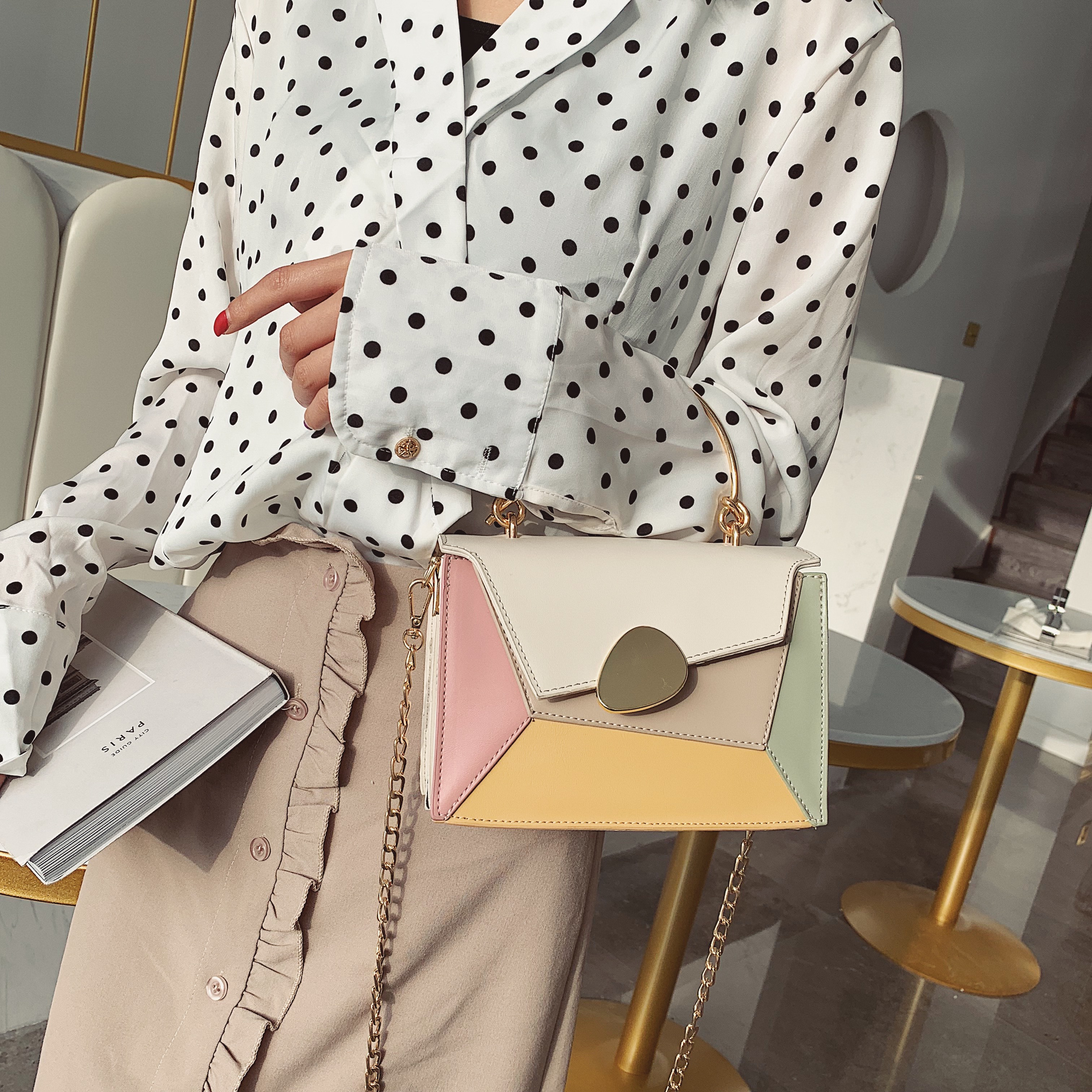 Contrast Color PU Leather Crossbody Bags For Women 2019 Chain Handbags with Metal Handle Shoulder Messenger Bag Small Totes