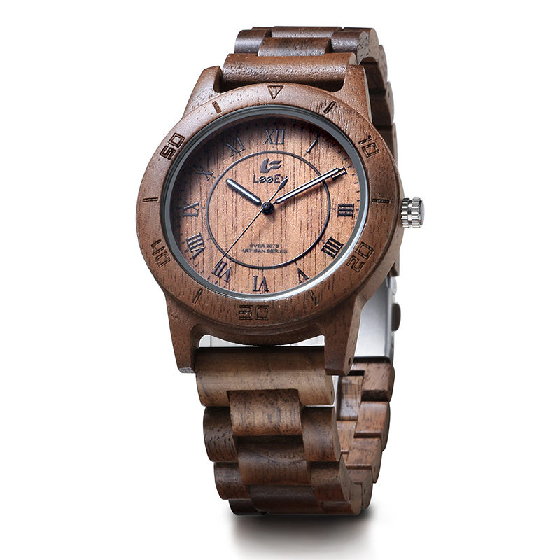 LeeEv EV2075 Mens Natural Walnut Wood Watch Analog Quartz Light Weight Vintage Wooden Wrist Watch leeev ev1908 mens natural walnut wood watch analog quartz light weight vintage wooden wrist watch
