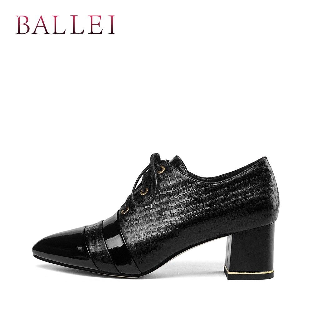 Chaussures Cuir Rétro D66 Luxe Solide Base Femme Lacets Pointu Ballei De Carré Sexy Talons Mode Doux Bout Véritable black Pompes À Beige 1TFlcKJ