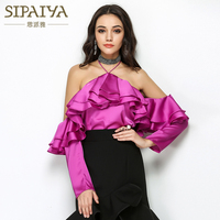 SIPAIYA Runway Sexy Cold Shoulder Women Tops 2017 Spring Autumn Long Sleeve Ruffles White Black Purple