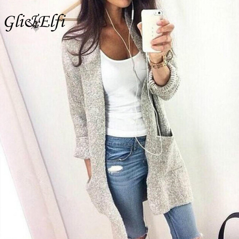 Long Cotton Cardigan Sweater Women Autumn Winter 2017 Fashion ...