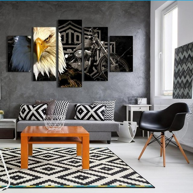 living room canvas art. Drop Shipping 5 Piece Canvas Art Eagle Motorcycle Painting Living Room  Modern Home Decoration Prints