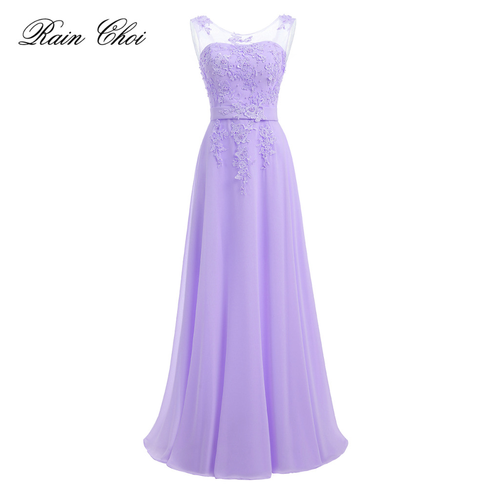 Lavender   Evening     Dresses   Long 2019 New Floor Length Appliques Chiffon Prom Party Gowns Robe De Soiree