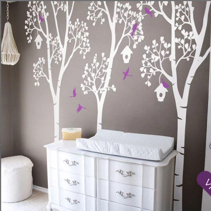 Grand arbre pépinière Sticker Mural arbres avec oiseaux et feuilles mur vinyle décalcomanie arbres et nichoirs Mural enfant chambre décor AY1340
