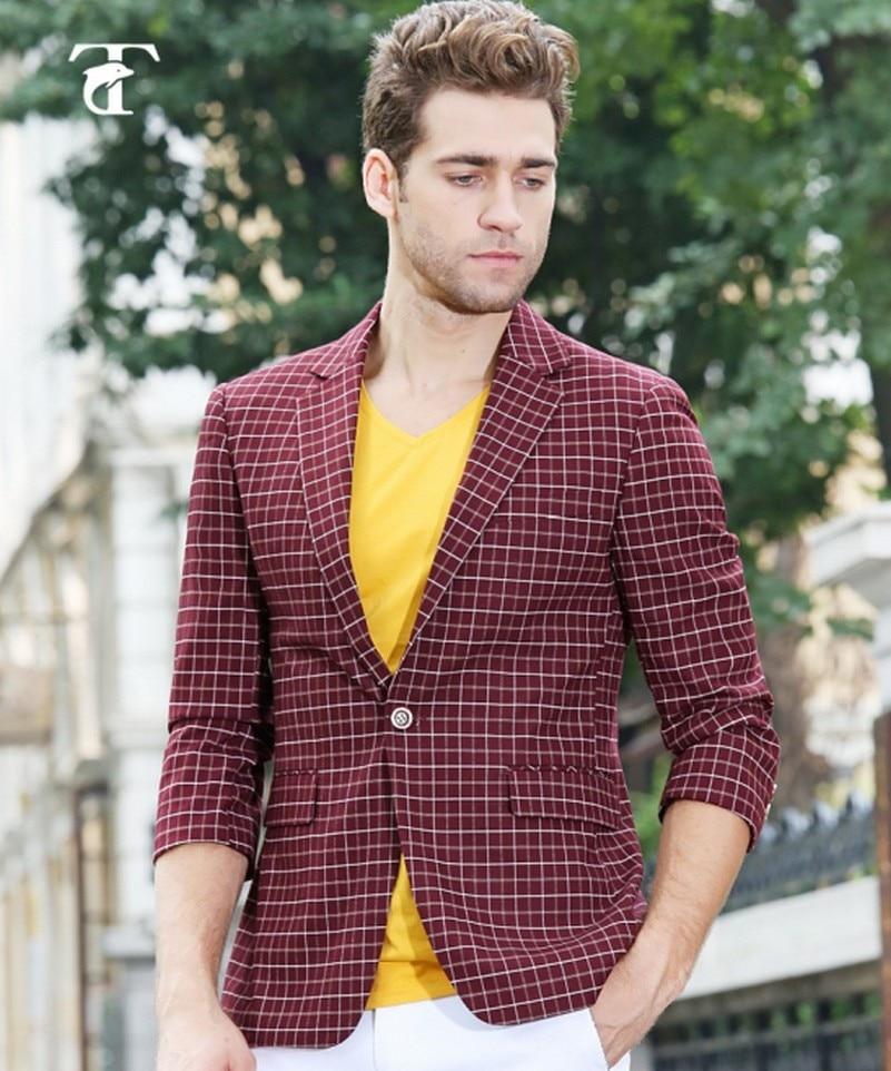 Ücretsiz kargo tiny kontrol suit küçük ızgara takım elbise - Erkek Giyim