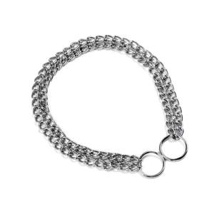Necklace Collars Metal-Link P-Chock Double-Chain Training Chrome-Plated Pets Iron Dog