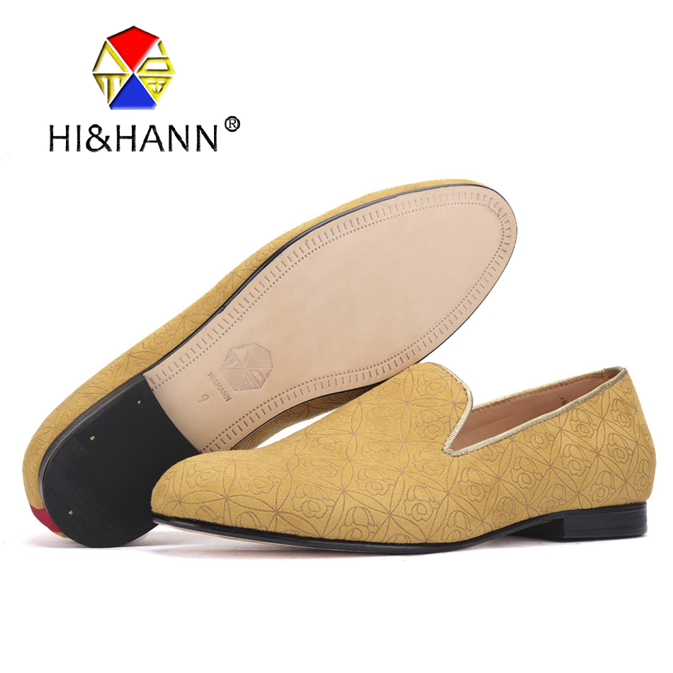 2017 new Yellow Floral suede men handmade shoes with Genuine leather bottom and insole Party and Prom men loafers male's flats piergitar fashion men suede shoes handmade men loafers for party and wedding prom breathable leather insole slip on men s flats