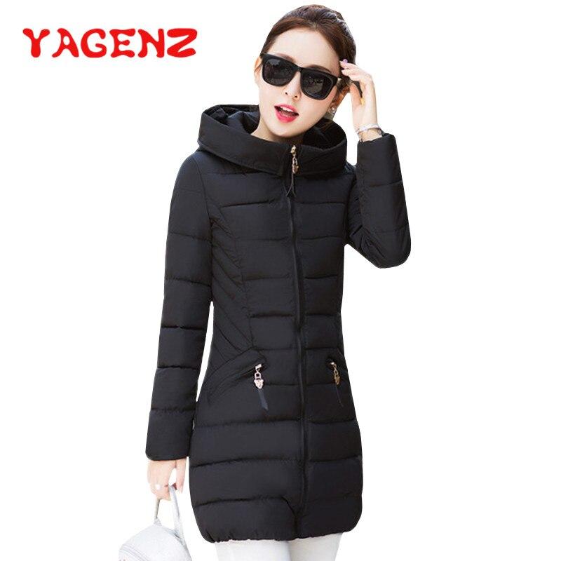 YAGENZ Plus Size M-3XL Cotton-padded   Parkas   Winter Jacket Women Hooded Coat Warm Down Jacket Long Outwear Female Slim Jacket 192