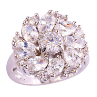lingmei Women Wedding Cluster Design Shiny White Topaz 925 Silver Ring Size 6 7 8 9 10 11 12 Love Style Free Shipping Wholesale